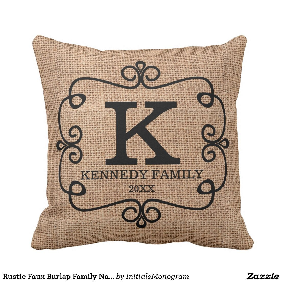 Rustic Faux Burlap Family Name Monogrammed Throw Pillow | Zazzle ...