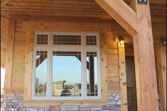 Look How Beautifully It S Finish Product A 1x8 Bevel With Trim Cedar Siding Siding Timber Frame Homes