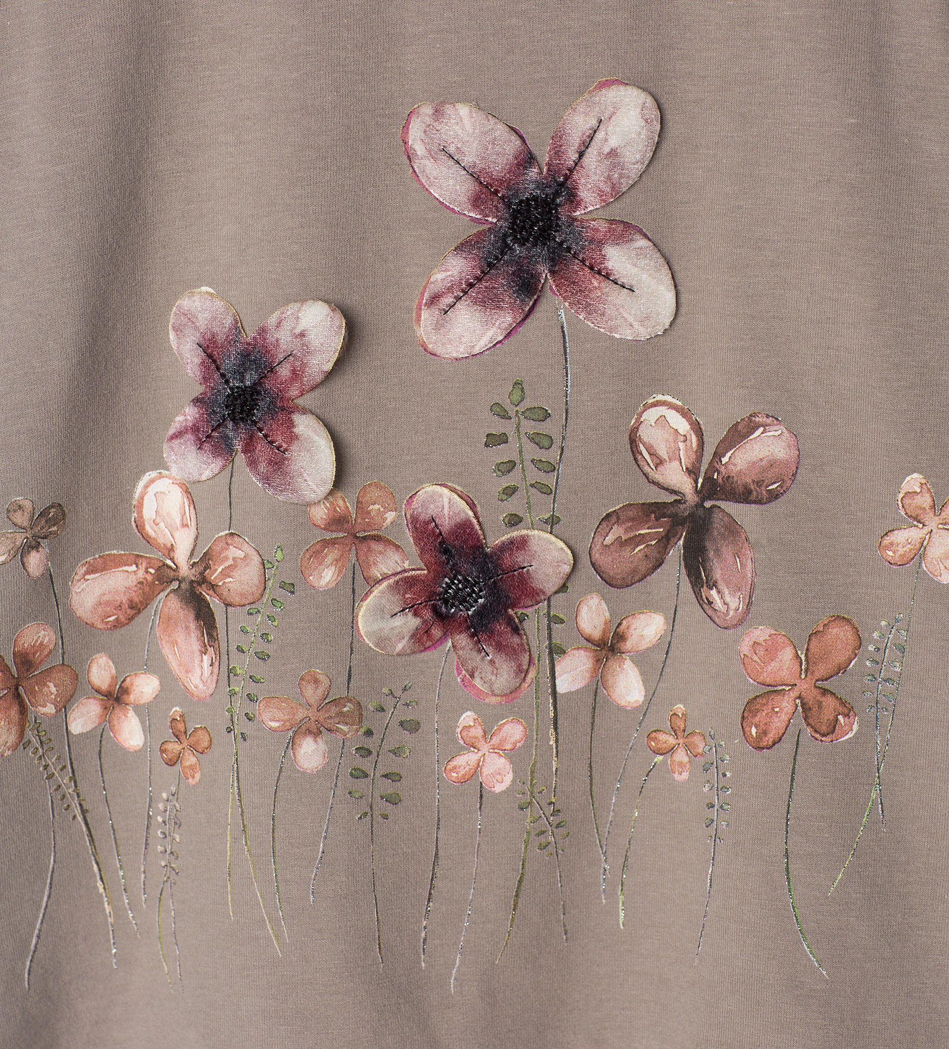 Velours - T - Shirt mit Blumen - Alles sehen - T - Shirts - Mädchen ...