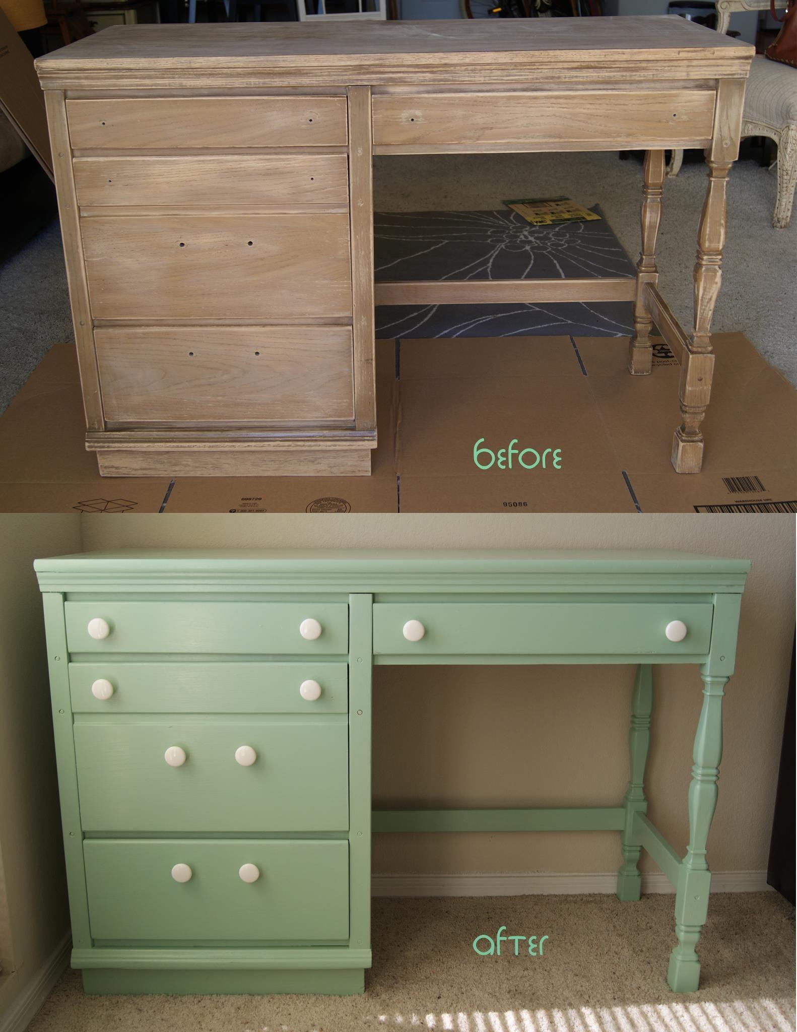 Before And After Vintage Mint Green Desk Green Desk Furniture