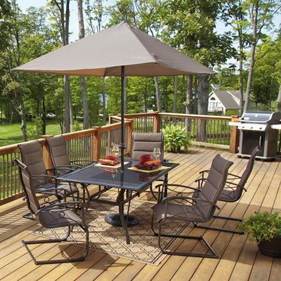 meijer patio furniture callaway 7 piece padded sling outdoor patio set at meijer - Cheap Patio Sets