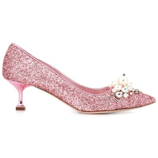 9f16222fde16 Miu Miu Glitter Kitten-Heel Pumps ( 870) ❤ liked on Polyvore featuring shoes