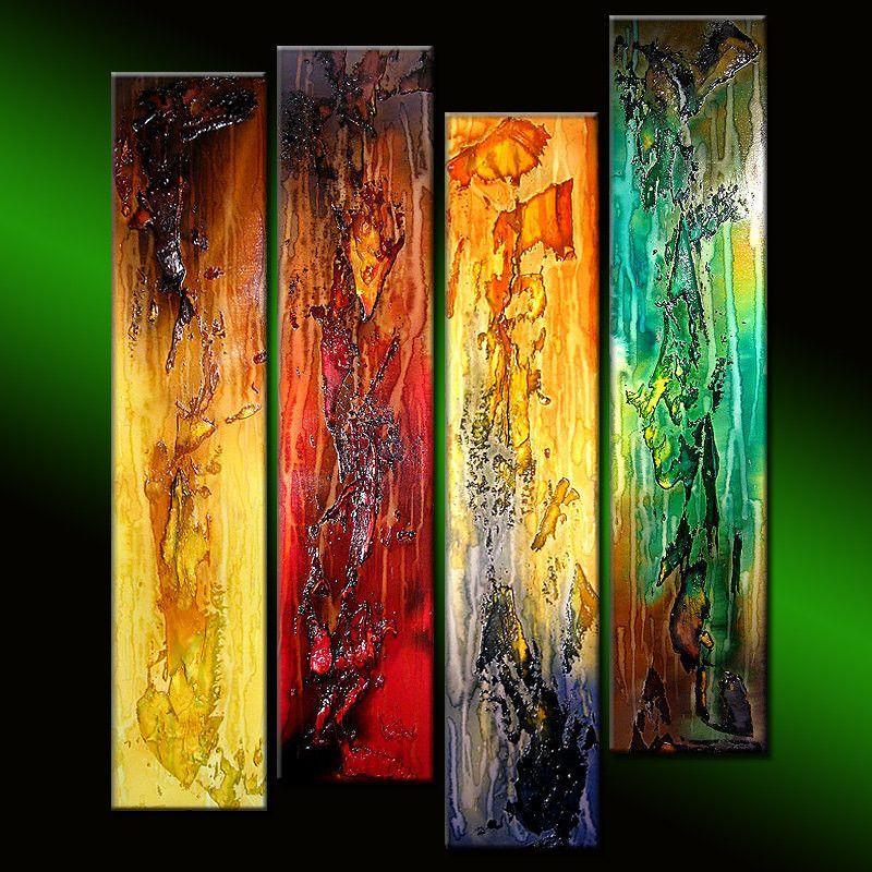 Original modern textured Colorful abstract painting ...