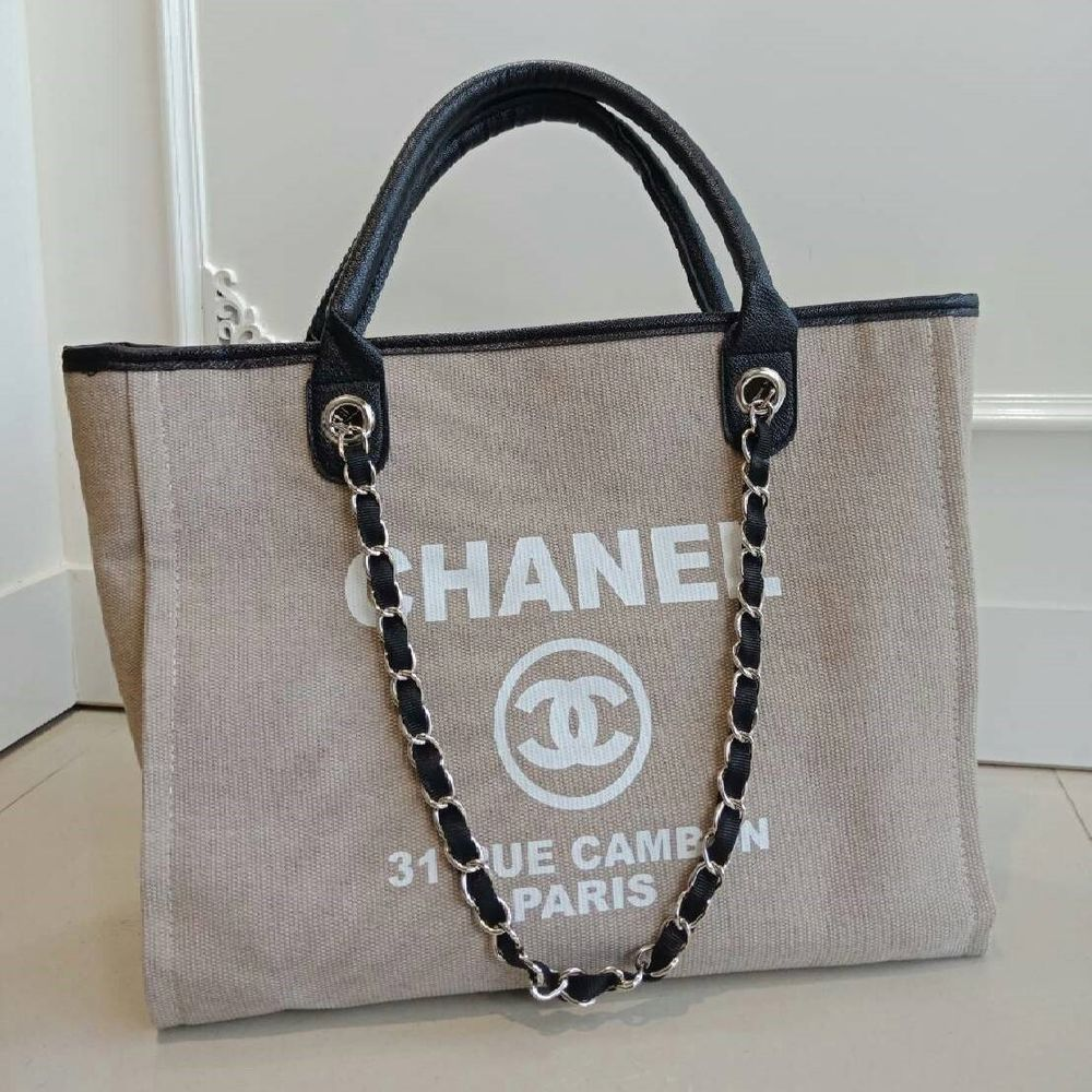 6d07c90738d9 CHANEL VIP Gift Beige Canvas Tote Bag #CHANEL #EveningBag | Wish ...