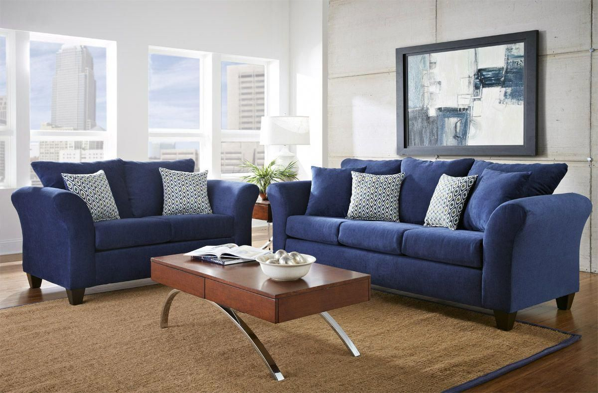 Pin By Furniture For The Home On A Few Black Leather Sofa Ideas Blue Furniture Living Room Blue Couch Living Room