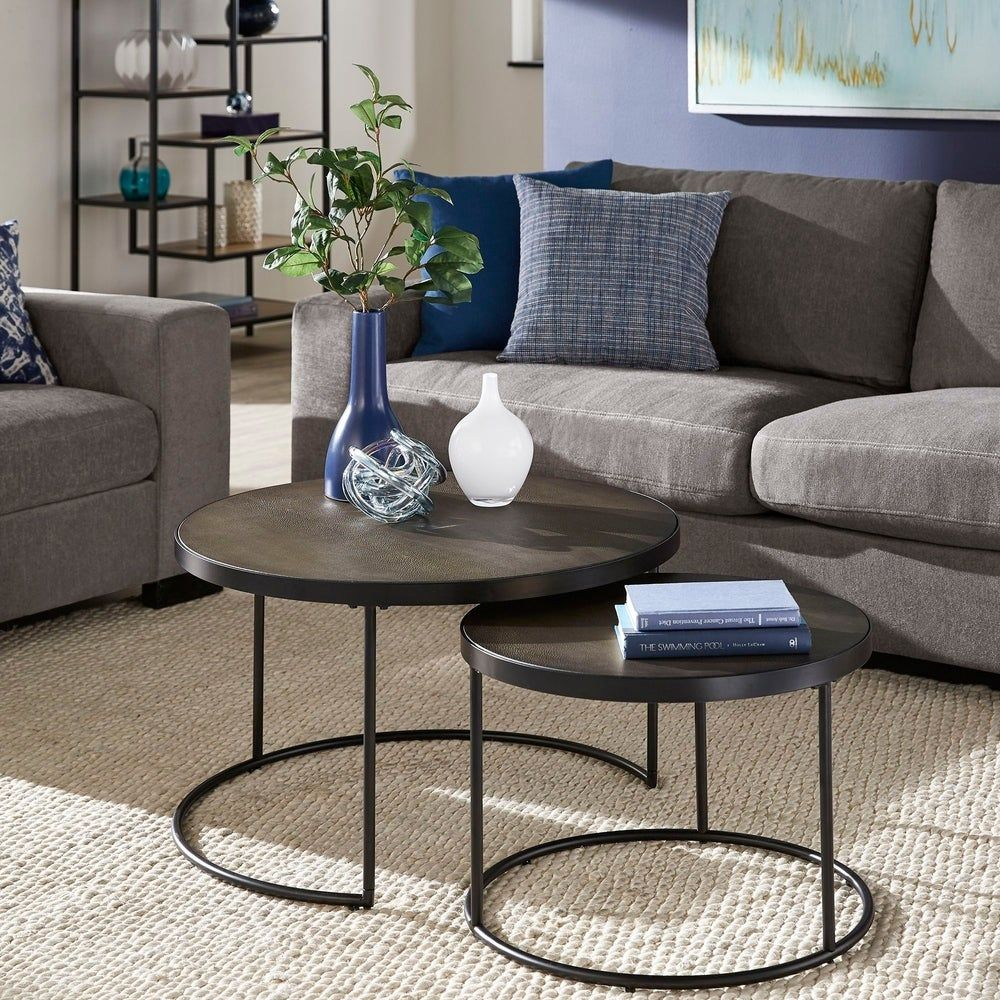 Downing black finish round nesting coffee table with faux