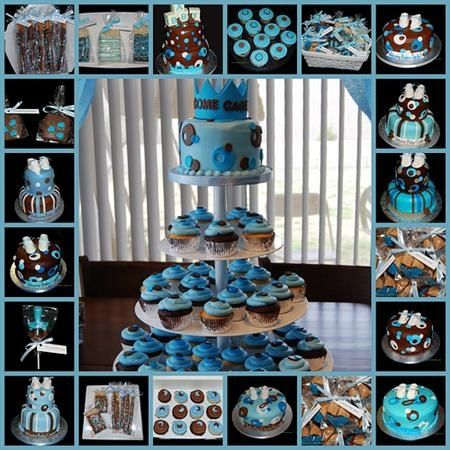Brown And Blue Baby Cake Decorating Ideas Just Ideea About How To