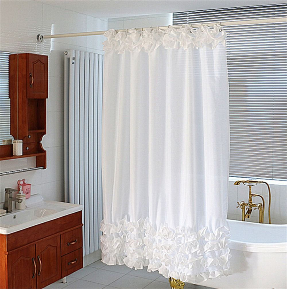 1 8x1 8m White Lace Waterproof Fabric Shower Curtain For Bathroom With Nickel Hooks In Shower Curtains White Shower Curtain White Shower Ruffle Shower Curtains