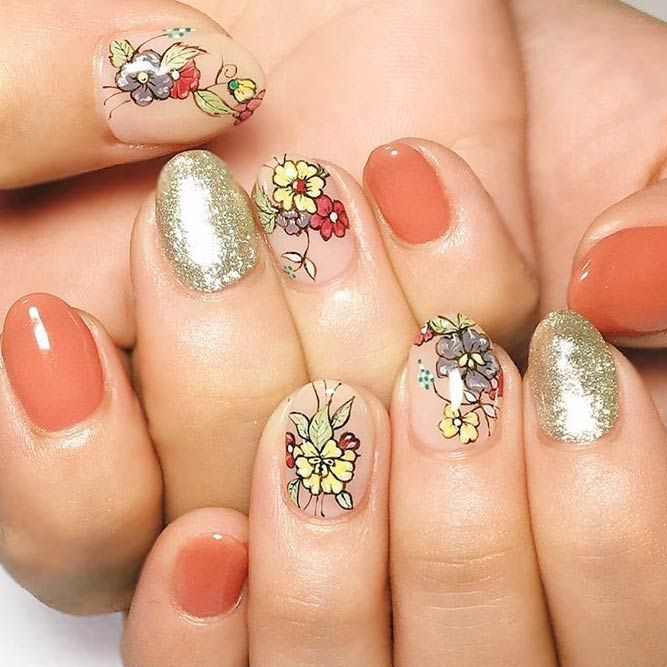 24 Charming Designs For Rounded Nails Round Nails Nail Art