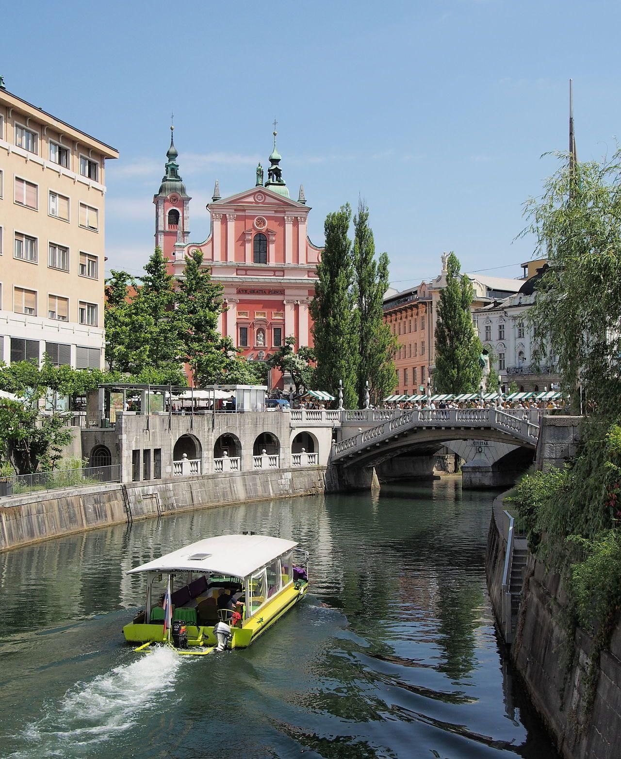 Ljubljana in Ljubljanica, Slovenia