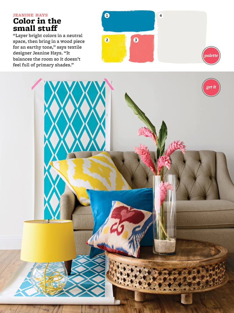 love the neutral couch with the pops of color, love the patterns and the colors