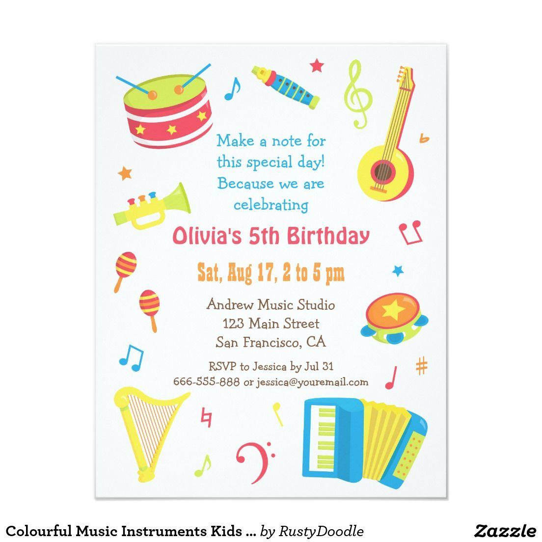 Colourful Music Instruments Kids Birthday Party Invitation Zazzle