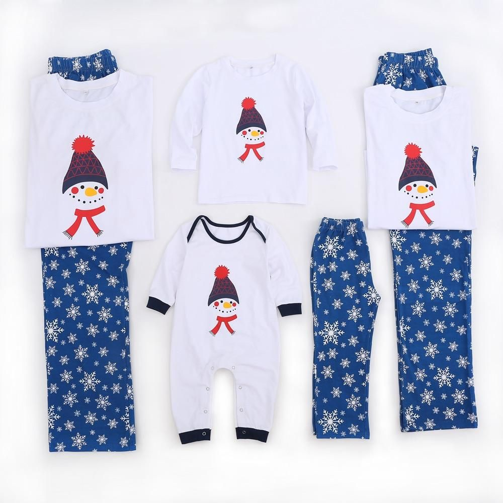 New Cotton Casual Christmas Cute Snowman Family Matching
