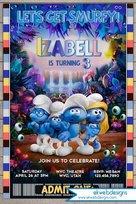 Smurfs Birthday Invitation Smirfs Movie 2017 Invitation Smurfs