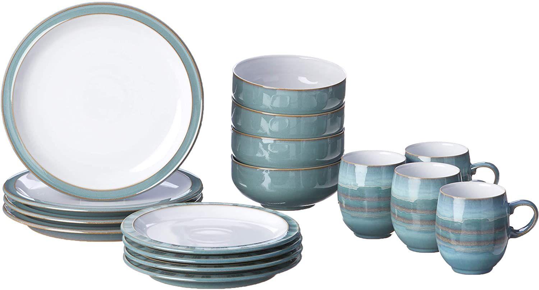 Denby 16 Piece Azure Coast Dinner Set Set Of 4 Dinner Sets Glassware Set Dinnerware Sets