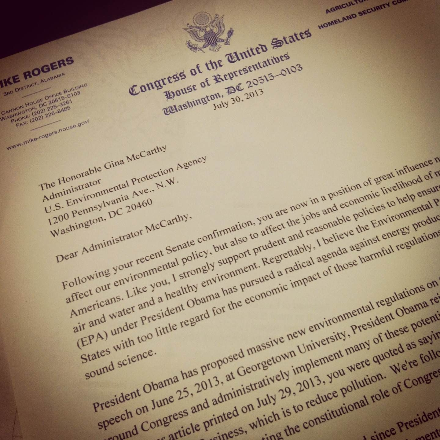 This week, I wrote a letter to EPA Administrator Gina McCarthy urging her to ensure that any new regulations for America's energy sector do not threaten jobs.  Read more here: http://mike-rogers.house.gov/press-release/rogers-epa-administrator-it's-all-about-jobs
