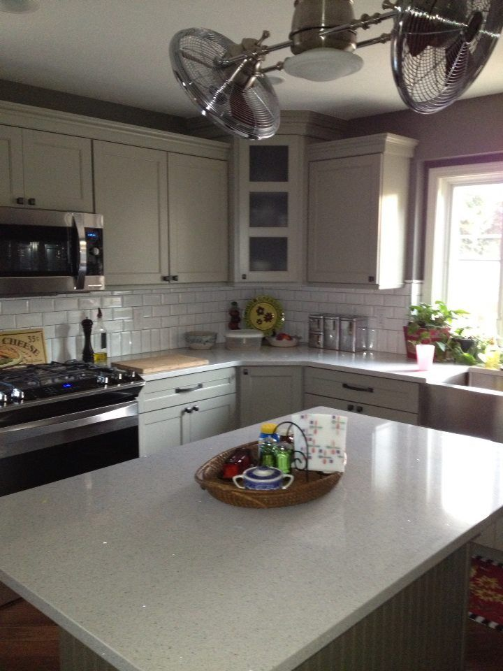 Lovely Quartz (Stellar Snow) Counters With Mirror Flecks. Sears Elite SS  Appliances With