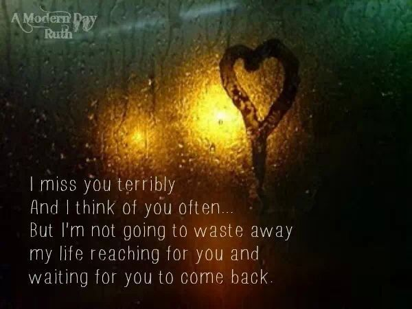 On missing someone...