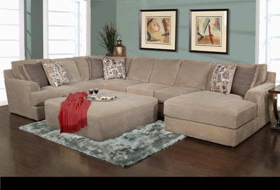 Mulholland Taupe 4 Piece Sectional With Tail Ottoman