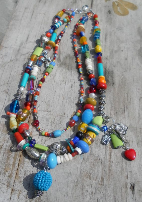 Colorful Rainbow Beaded Necklace Southwestern by TeslaDesigns, $60.00