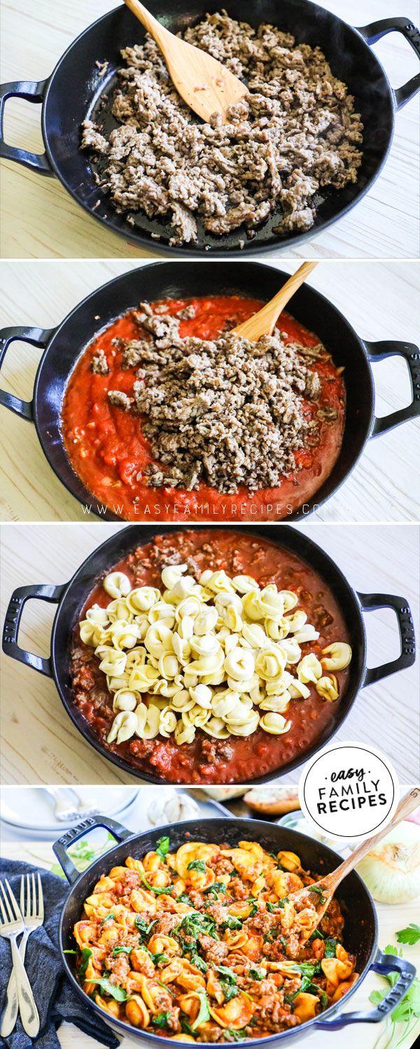 One Skillet Italian Sausage Tortellini Dinner · Easy Family Recipes
