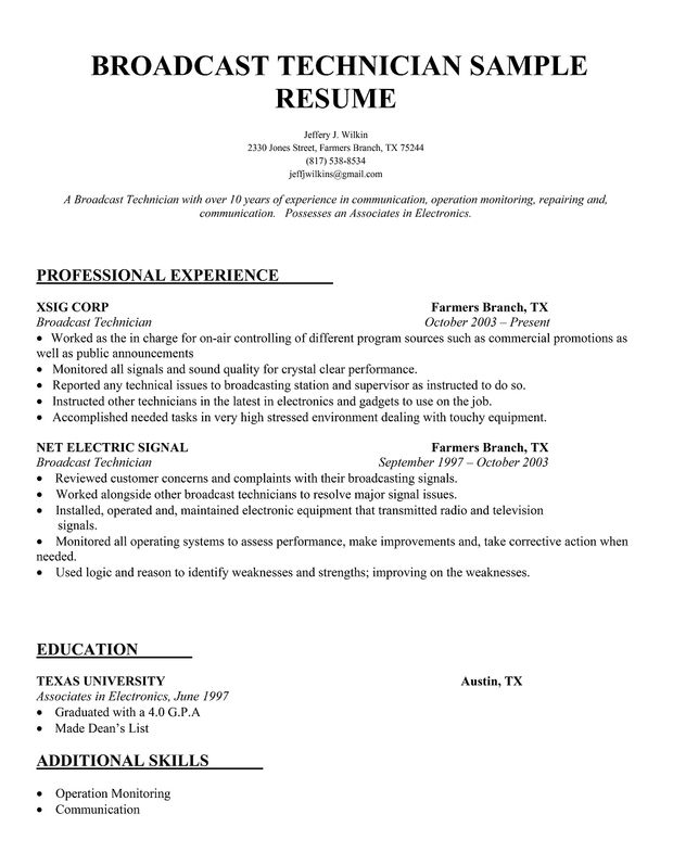 Broadcast Technician Resume Sample Resume Samples Across All - chemist resume objective