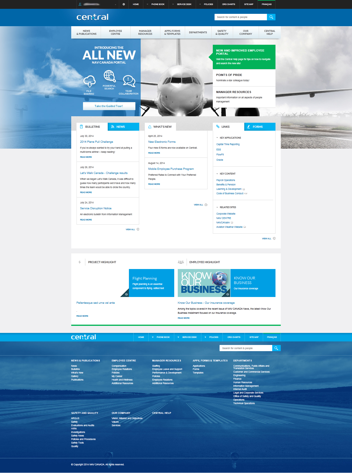 Nav canada s delightful intranet is based on sharepoint for Intranet portal design templates