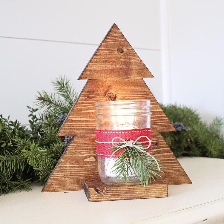 DIY Wood Christmas Tree Mason Jar Sconce Rustic christmas