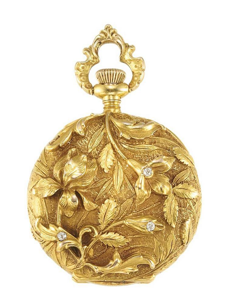 Art Nouveau Gold and Diamond Pendant-Watch 14 kt., subsidiary seconds - Swiss movement, c. 1900.