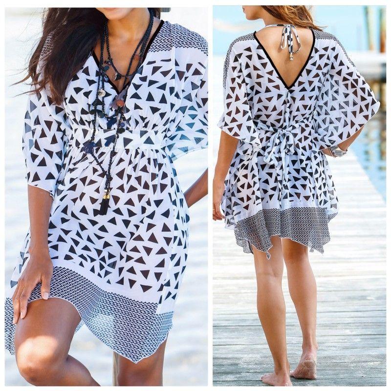ff15fc4b60  Beach Black White Geo Print Sheer Tunic Kaftan BPC Selection size 8 10 16