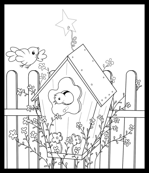 free printable birdhouse coloring pages | Birdhouse Coloring Pages | Free Printable Coloring Pages ...