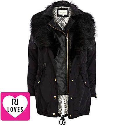 3 in 1 faux fur parka jacket