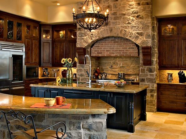 This Rustic Kitchen Has An Amazing Curved Barstool Eating Area That Is Perfect To Grab A Snack Www Remodelwork Old World Kitchens My Dream Home Stone Kitchen