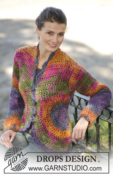 "DROPS Crochet cardigan in ""INKA"", size S - XXL ~ DROPS Design ..."