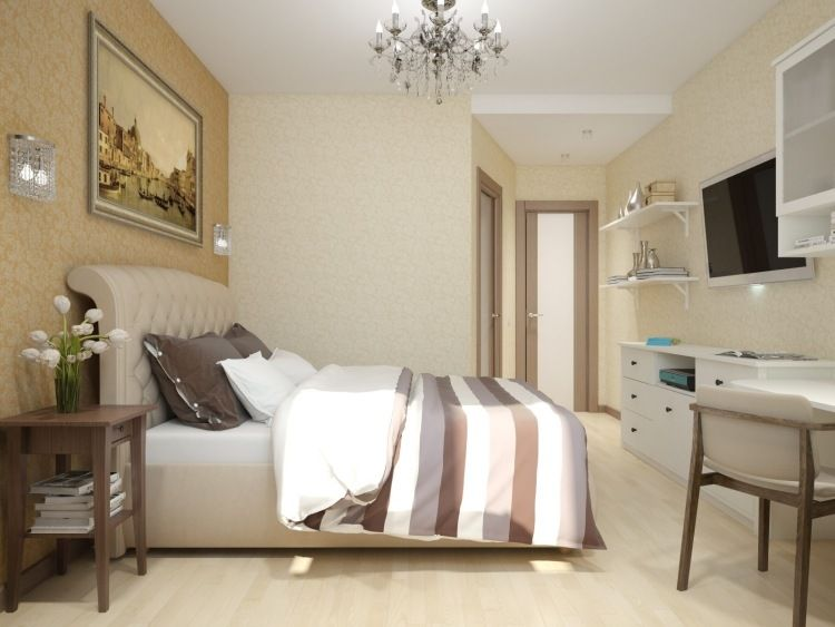 Tapeten in hellen Farben - Polsterbett in Beige Schlafzimmer - moderne tapeten schlafzimmer