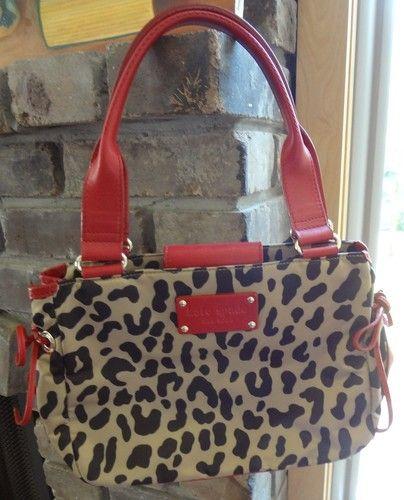 Kate Spade Leopard Red Black Tan Animal Print Shoulder Bag Purse
