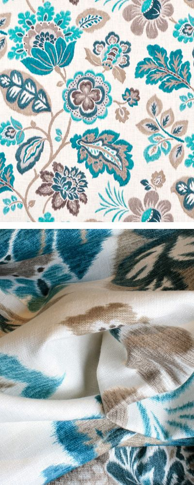 Kazoo Seaglass By Braemore Ikat Inspired Floral In Teal