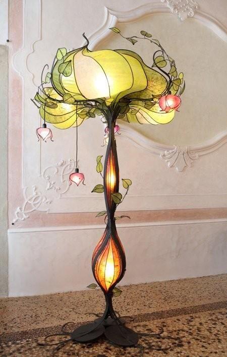 Organic Art Nouveau Flower Lamp With