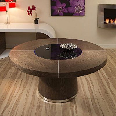 Large Round Dark Elm Dining Table Black Glass Lazy Susan Led Lighting Dining Table Black Dining Table Circular Dining Table