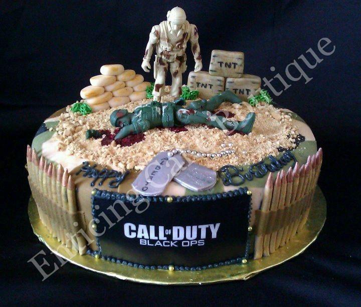 Call Of Duty Fondant Camoflauge Cake With Sugar Handmade