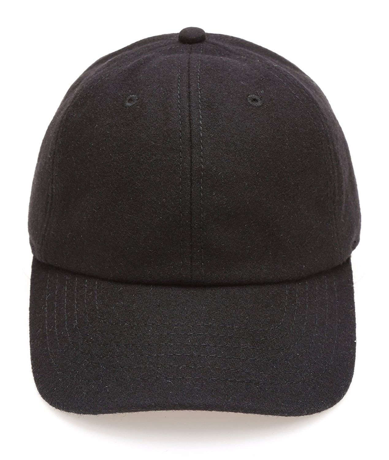 b839bee95 Men's Wool Blend Baseball Cap With Adjustable Size Strap - Black ...