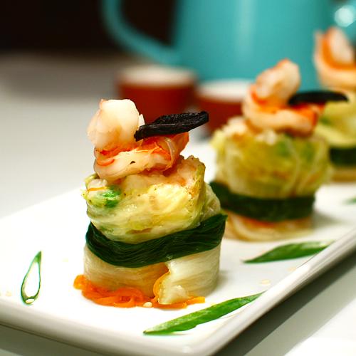Black Garlic Shrimp Dumplings