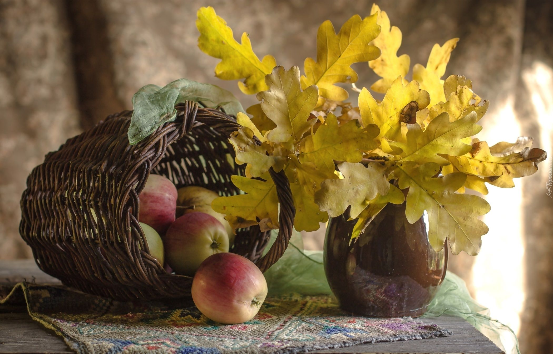 Kompozycja Wazon Bukiet Liscie Debu Koszyk Jablka Fruit Art Wallpaper Fruit