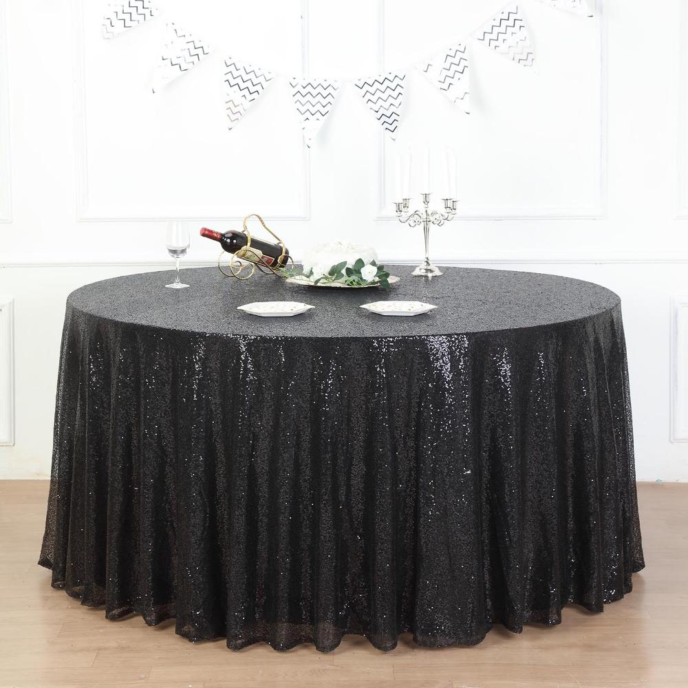 132 Black Premium Sequin Round Tablecloth In 2020 Round