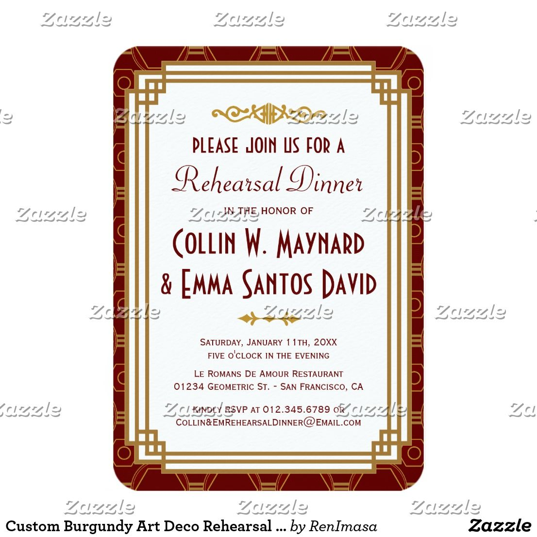 Custom Burgundy Art Deco Rehearsal Dinner Invites Art Deco Wedding