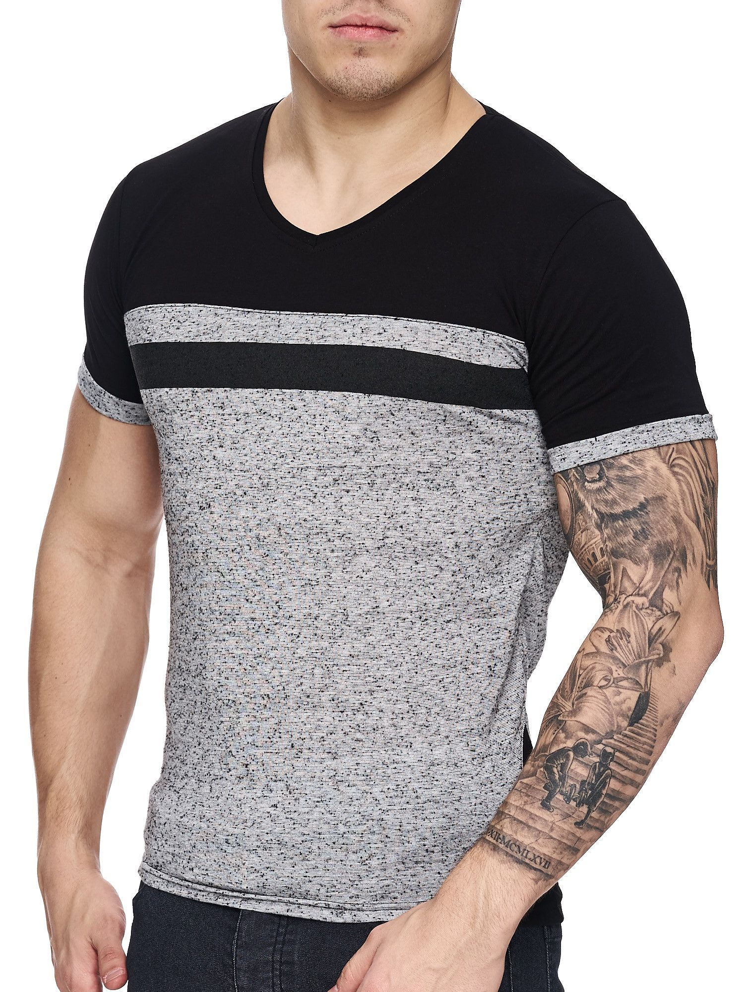 K&D Men Cross Band V-Neck T-shirt - Gray