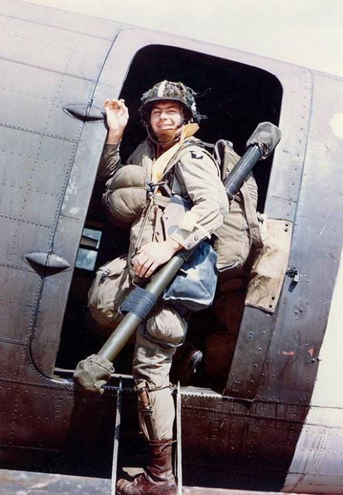 US 101st Airborne Division paratrooper Corporal Louis E. Laird boarded a C-47 transport during dress rehersals for the Normandy invasion spring 1944