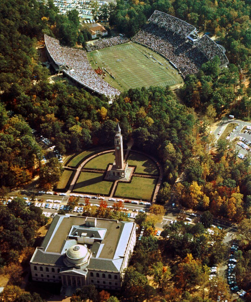 Aerial view of wilson library and kenan stadium 1963