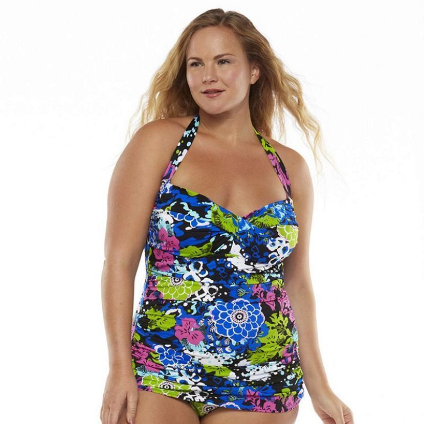 Upstream Tummy Slimmer Floral Twist-Front One-Piece Swimsuit Plus size 20W  Sale