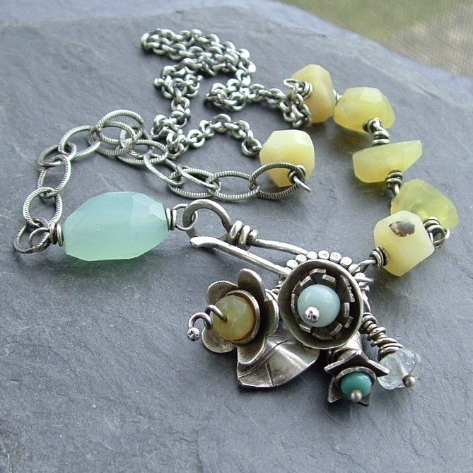 Sterling Necklace Flower Bouquet BlueYellow. Harbinger of Spring. $250.00, via Etsy.